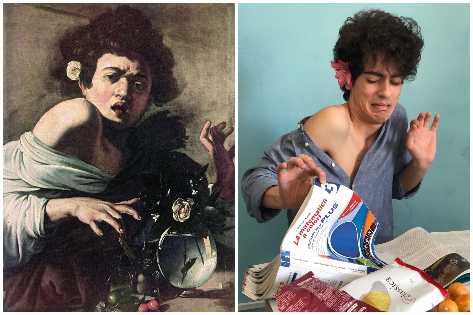 Boy botten by a lizard Caravaggio